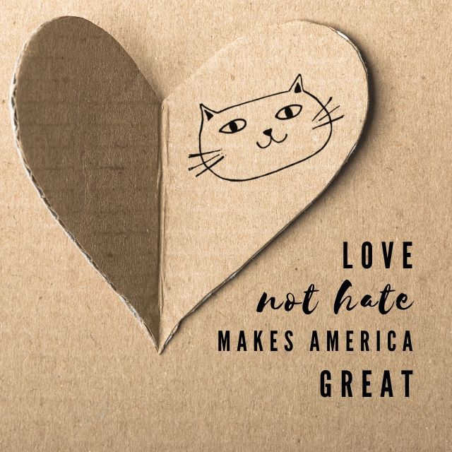 Love Not Hate Makes America Great - Cat Scratchers For Love!